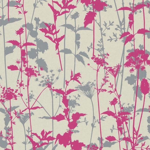 Nettles wallpaper - pearl / fuchsia / dark pebble (110173)