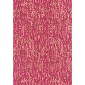 Grasses silk dupion fabric - hot pink / gold (120023)