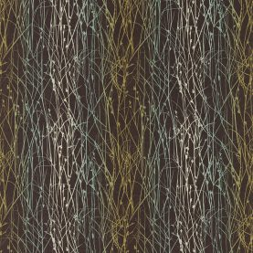 Grasses linen fabric - peat / duck egg / olive (120033)