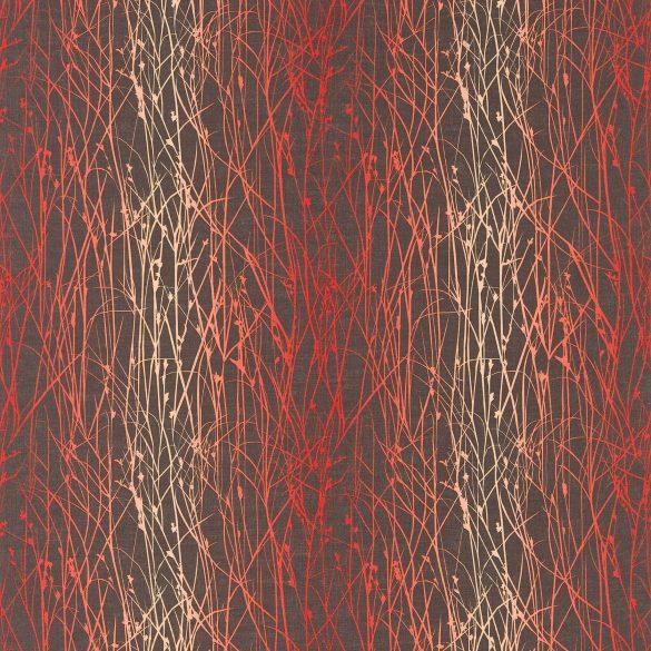 Grasses linen fabric - zinc / chilli / coral (120034)