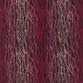 Grasses linen fabric - grape / hot pink / fuchsia (120035)