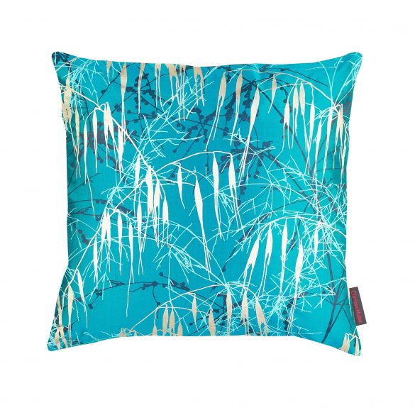 Three Grasses silk cushion - kingfisher / petrol / aqua / soft gold