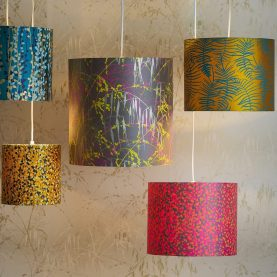 Three Grasses silk lampshade - storm / sulphur / neon / soft gold
