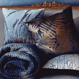 Espinillo velvet cushion - indigo / copper