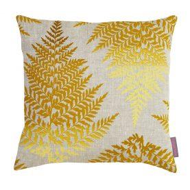 Filix linen cushion - cadmium / ochre