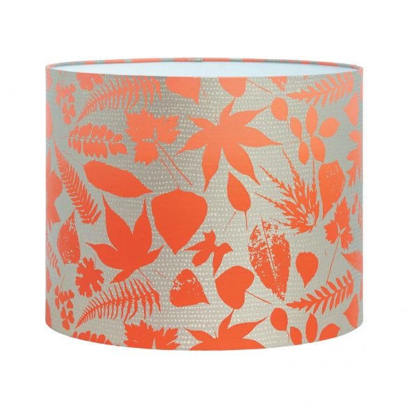 Falling Leaves silk lampshade - pebble / chilli ombre