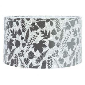 Falling Leaves linen lampshade - white / grey ombre