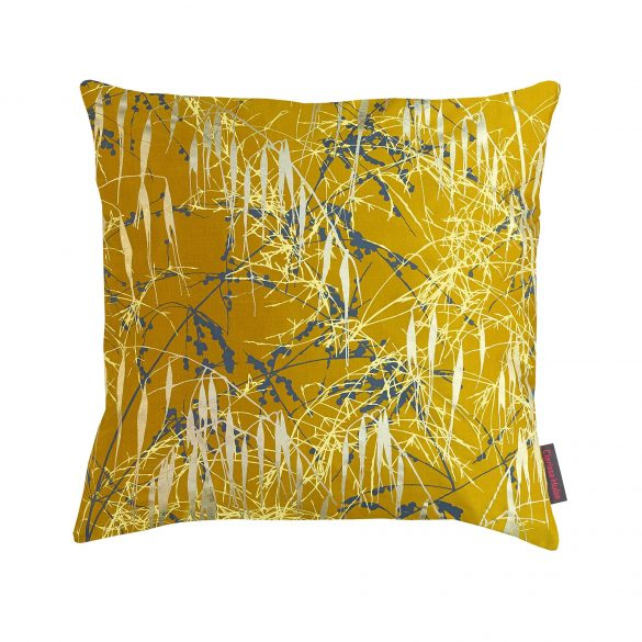 Three Grasses silk cushion - turmeric / storm