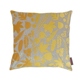 Falling Leaves silk cushion - storm / turmeric ombre