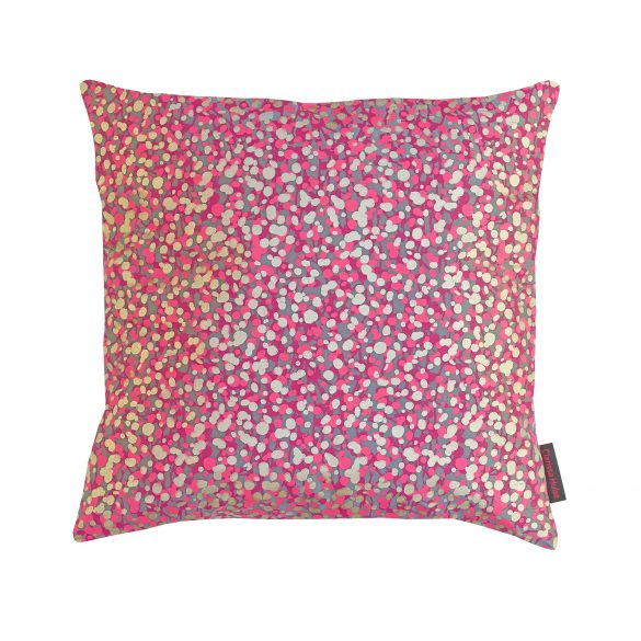 Garland silk cushion - storm / hot pink / soft gold