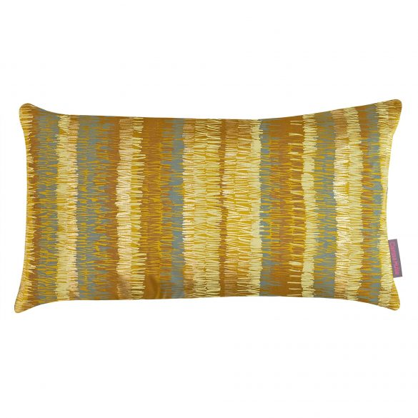 Textured Stripe silk cushion - turmeric