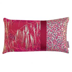 Three Grasses patchwork cushion - hot pink / soft gold