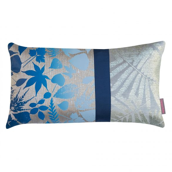 Falling Leaves patchwork cushion - pebble / midnight ombre
