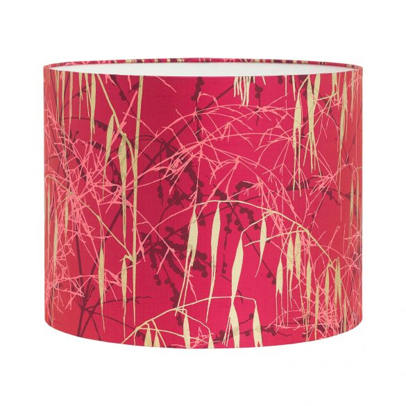 Three Grasses silk lampshade - hot pink / fuschia / neon  coral / soft gold