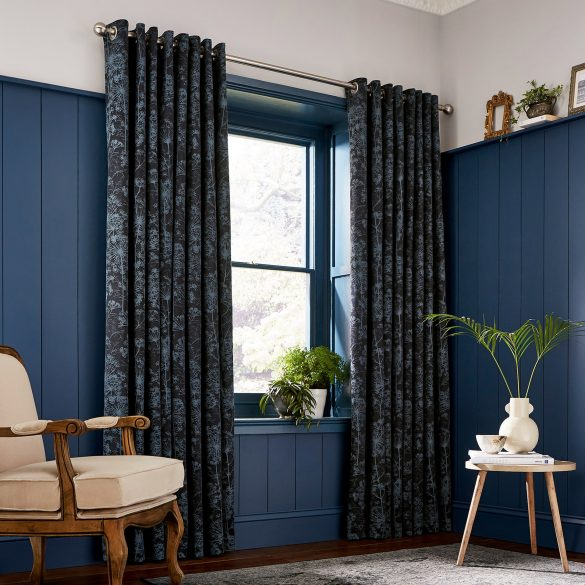 CLARISSA HULSE Dill Blue curtains main