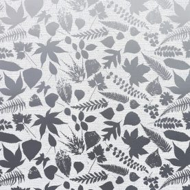 Falling Leaves linen fabric - white / grey