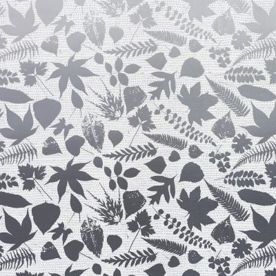 Falling Leaves linen fabric REMNANT - white / grey - 45 x 145cm