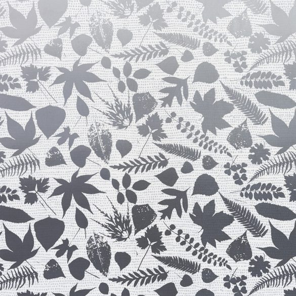Falling Leaves fabric - white / grey