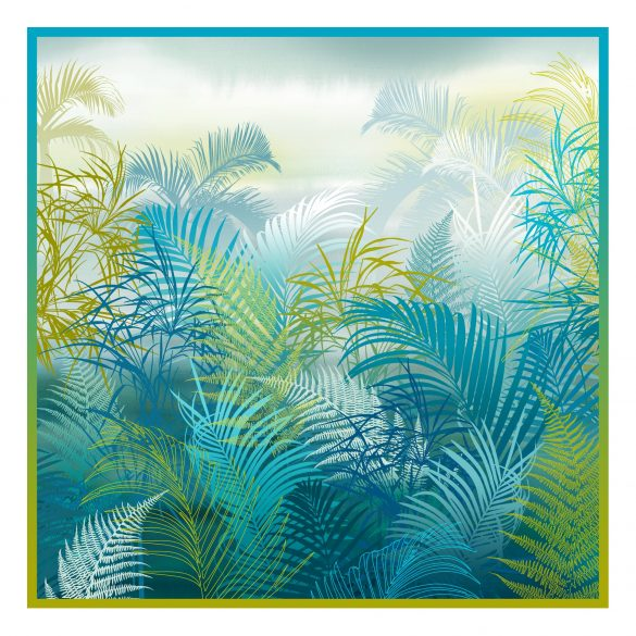 Cloud Forest 90cm square silk scarf - peacock