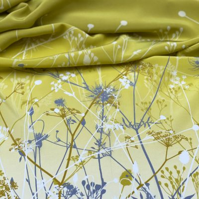 September Meadow oblong silk scarf - chartreuse
