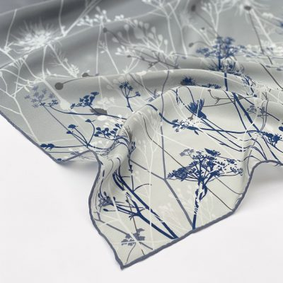 September Meadow oblong silk scarf - storm grey