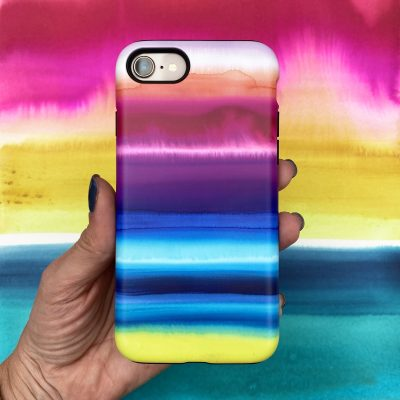 Watercolour phone case - rainbow