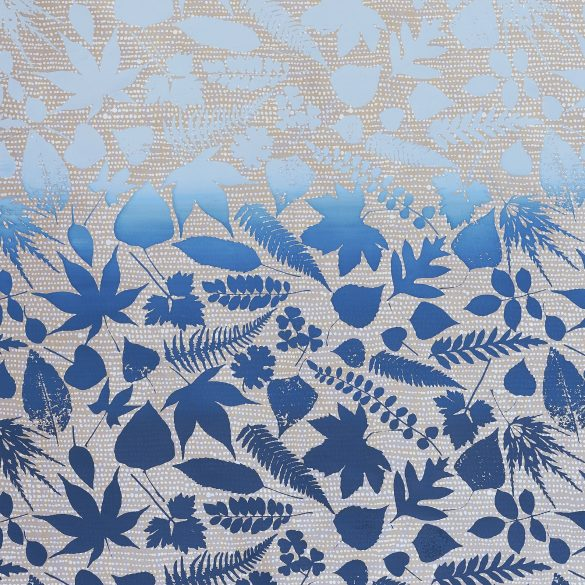 Falling Leaves silk fabric REMNANT - pebble / midnight - 45 x 137cm