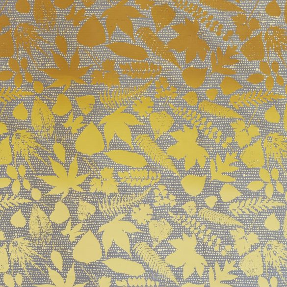 Falling Leaves silk fabric REMNANT - storm / mustard - 45 x 137cm