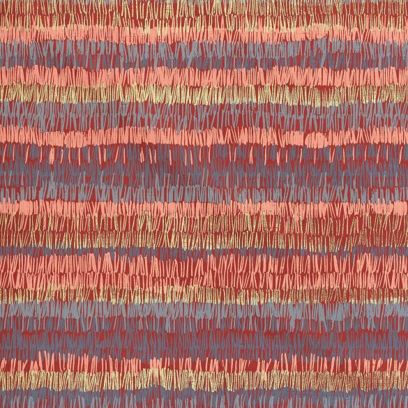 Textured Stripe silk fabric - paprika