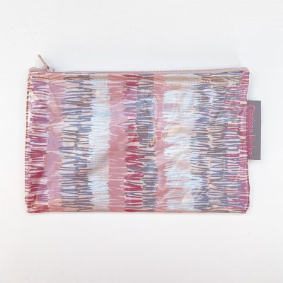 Small make up purse - textured stripe - oyster / storm