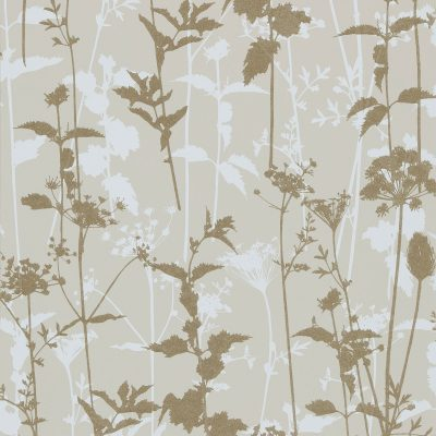 Nettles wallpaper natural white gold