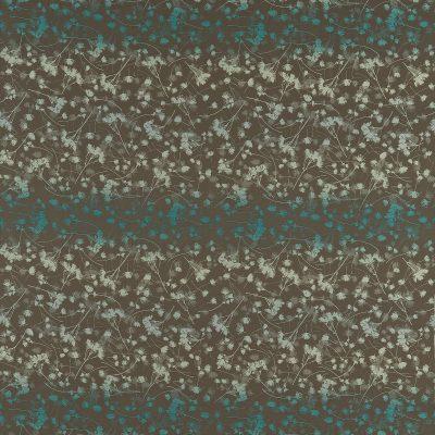 Rue flower cotton fabric - peat / aqua / teal (130260)
