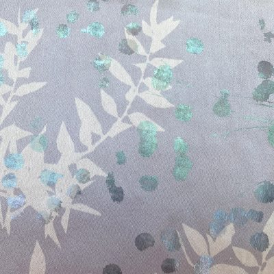 Scarf 7 - silk - lilac grey with iridescent foil