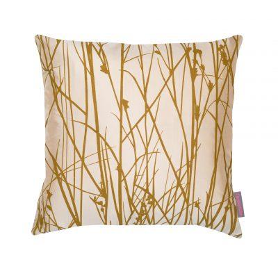 Grasses silk cushion - putty / hopsack