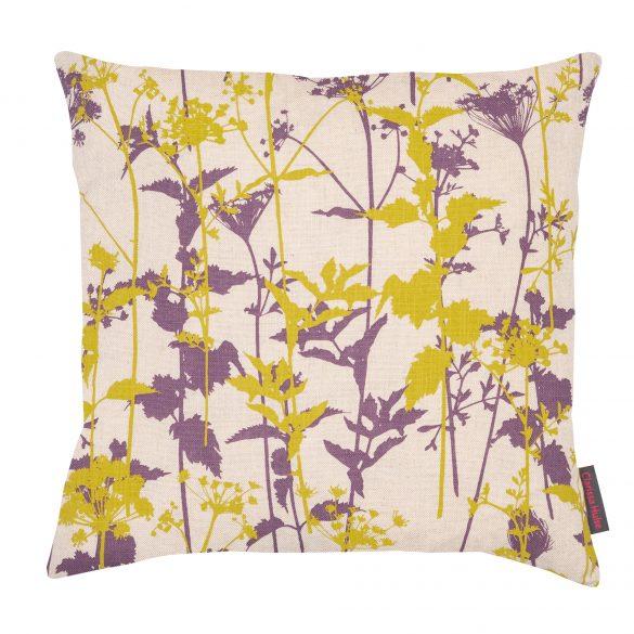 Nettles cushion - natural / spring green / prune