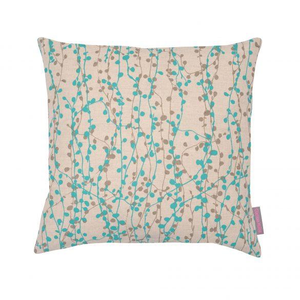 Beads cushion - natural / aqua / pewter