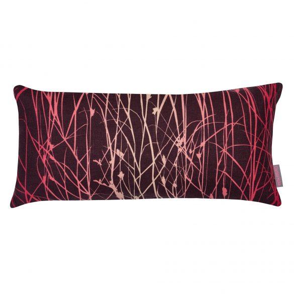 Grasses linen cushion - grape / hot pink / fuschia