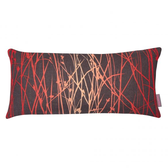 Grasses linen cushion - zinc / chilli / coral