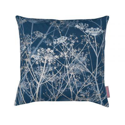 blue silver print cushion