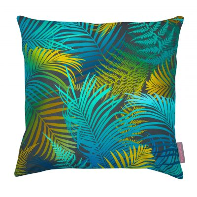 Turquoise palm cushion