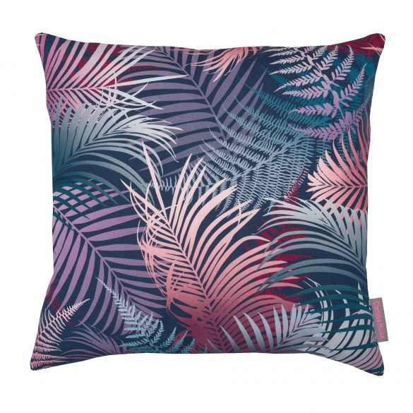 Pink and blue palm cushion