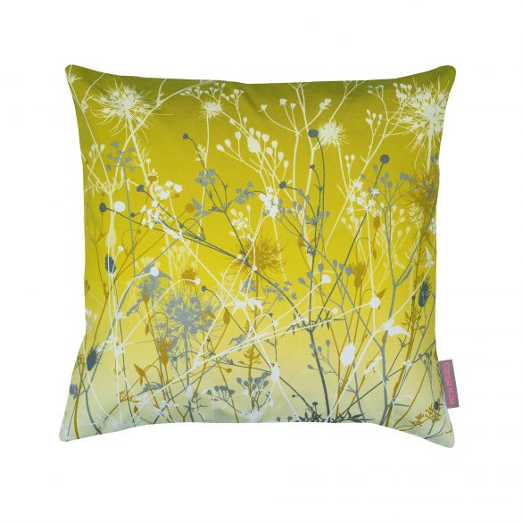 Yellow and grey cotton cushion