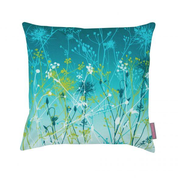 Kingfisher blue green cotton cushion