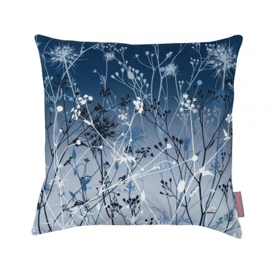 Blue and grey cotton cushion