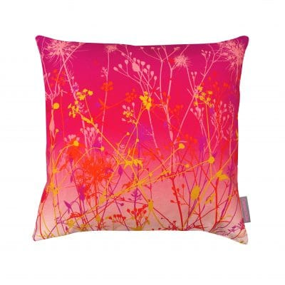 September Meadow cotton cushion – hot pink / fuchsia