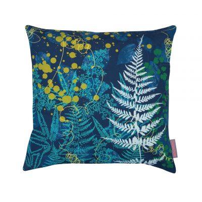 Blue olive cotton cushion