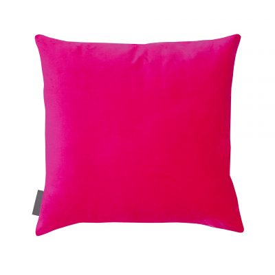 Pink fuchsia cotton velvet cushion
