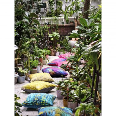 Whispering fern cotton cushion – navy / olive