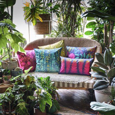 Waterfall Vines cotton cushion – kingfisher / chartreuse