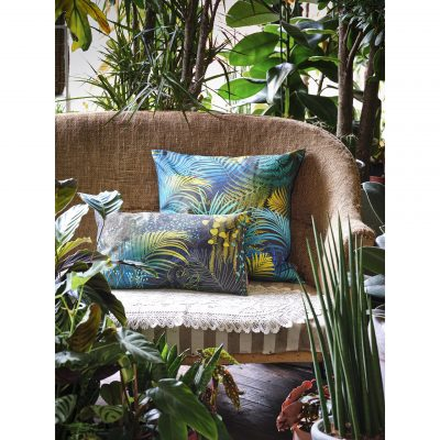 Palm Leaves cotton cushion – evergreen / charcoal